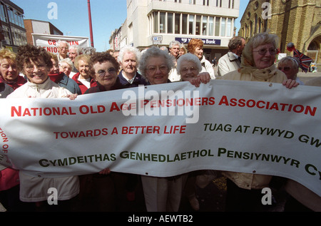 Elderly women protesting for pensioners rights and increased pensions Blackpool Lancashire England - Stock Photo