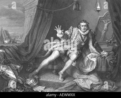David Garrick (1717-1779), English actor-manager, in the role of Richard III. Engraving after Hogarth. - Stock Photo