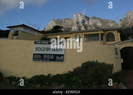 House sold in upmarket neighbourhood Camps Bay suburb, Cape Town, South Africa. - Stock Photo