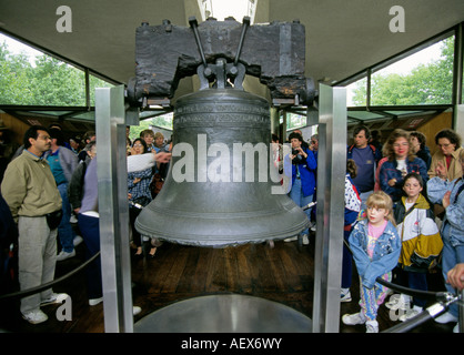 A view of the American Liberty Bell in its resting place near Independence Hall in historic Philadelphia, Pennsylvania. - Stock Photo
