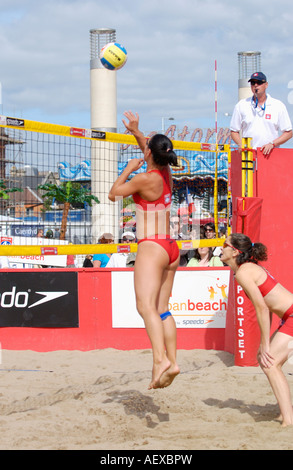 Urban beach volleyball tournament Cardiff Bay South Wales UK - Stock Photo