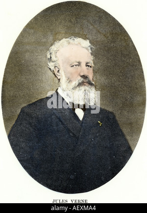 Author Jules Verne. Hand-colored halftone of a photograph - Stock Photo