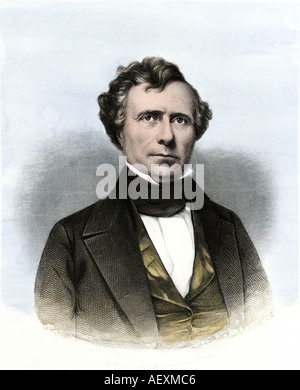 Franklin Pierce President of the United States. Hand-colored steel engraving - Stock Photo