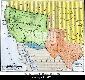 map of the territory ceded by mexico to the us after the mexican american war 1848