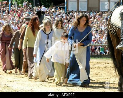 Germany Bavaria Kaltenberg Ritterturnier Knight medieval festival - Stock Photo