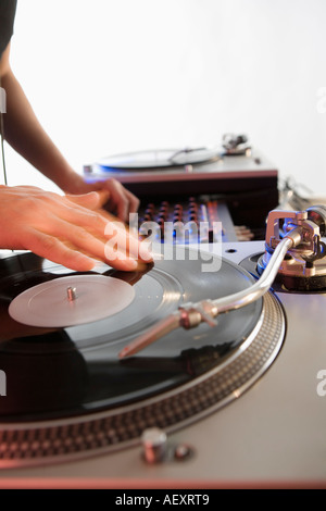 Person mixing sound from records - Stock Photo