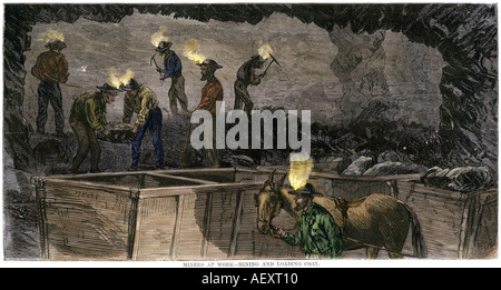 Miners digging and loading coal into an underground mule-drawn cart in Pennsylvania 1860s. Hand-colored woodcut - Stock Photo