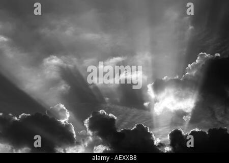 Sun rays shining through clouds. - Stock Photo