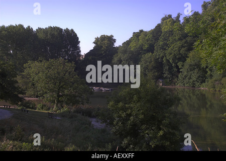 Early morning at Swanbourne Lake Arundel West Sussex England - Stock Photo