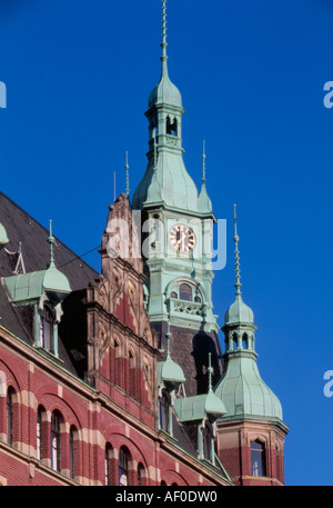 Lagerhaus in the old warehouse complex at Speicherstadt  Hamburg Germany - Stock Photo
