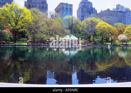 USA New York City Manhattan Central Park Boat Pond The Conservatory Water in Spring - Stock Photo