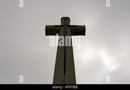 Cross of Sacrifice Bayeux Military Cemetery largest British Commonwealth WW2 Cemetery in the world Bayeux Normandy - Stock Photo