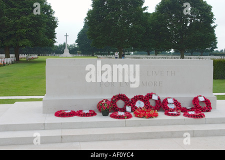 Main plinth at Bayeux Military Cemetery largest British Commonwealth WW2 Cemetery in the world Bayeux Normandy France - Stock Photo