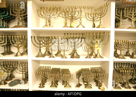 golden colour jewish chandelier menorah - Stock Photo