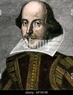 William Shakespeare portrait in the First Folio published 1623. Hand-colored woodcut - Stock Photo