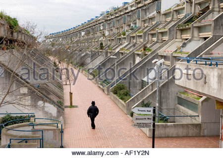 A police officer on patrol in Rowley Way on Camden Council s Alexandra and Ainsworth Estate London - Stock Photo