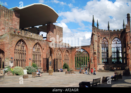 St. Michael's Cathedral ruins, Coventry, West Midlands, England, United Kingdom - Stock Photo