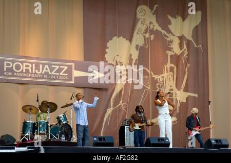 Blacknuss appearing with Lisa Nilsson at Pori Jazz Finland Europe - Stock Photo