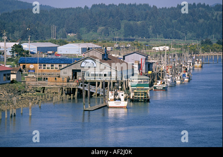 A view of the town of Florence and the Florence Harbor on the Oregon coast - Stock Photo