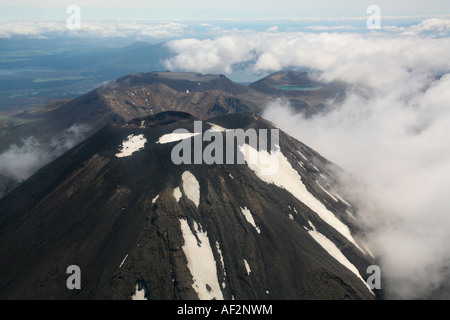 Crater and secondary cone of Mount Ngauruhoe, with Mount Tongariro behind from the air, Tongariro National Park, - Stock Photo