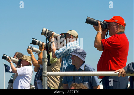 A crowd of press photographers at the Royal International Air Tattoo RIAT at Fairford Gloucestershire July 2006 - Stock Photo
