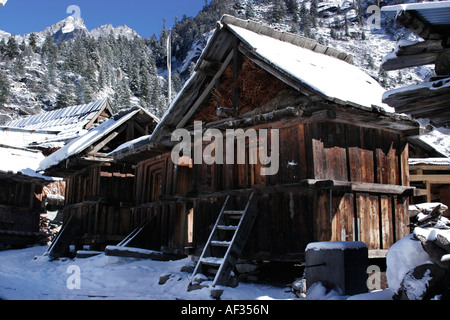 View of a hut used as a storage of food for the winters in the village Rakcham, Sangla Himachal Pradesh, Inida - Stock Photo
