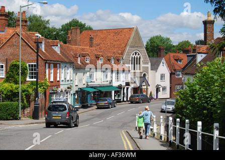 View of Bridge Street from Bridge, Hungerford, Berkshire, England, United Kingdom - Stock Photo