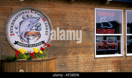 A seafood restaurant and market in the coastal town of Florence Oregon - Stock Photo