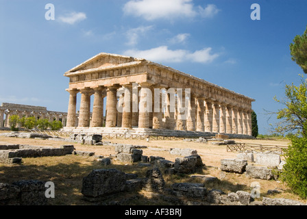 Temple of Neptune Paestum Italy - Stock Photo