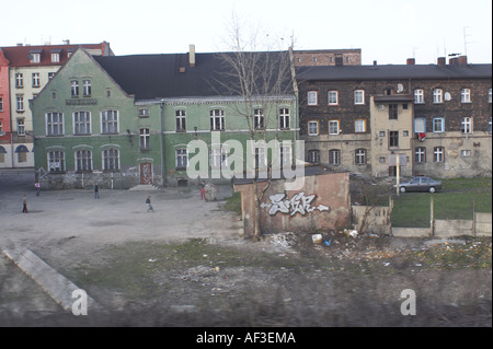 Tracks in Upper Silesia Poland. View on the tenement houses - Stock Photo