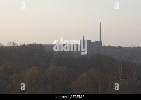 Tracks in Upper Silesia Poland. View on a factory - Stock Photo