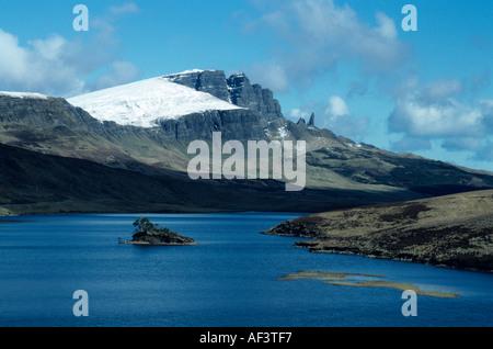 Scottish Winter scene - The Storr Isle of Skye view from across Loch Fada, Highlands, UK - Stock Photo