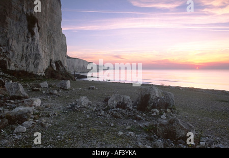 Cliffs of Ault at Sunset La Somme Picardie France - Stock Photo