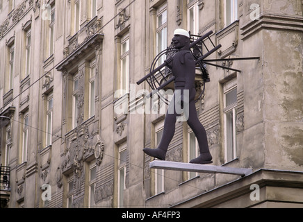 Sign chimney sweep at old house, Vienna, Austria - Stock Photo