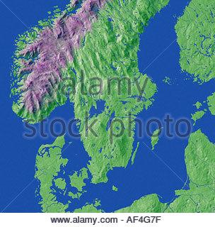 Map Maps Europe Denmark Sweden Norway Scandinavia Stock Photo - Sweden terrain map