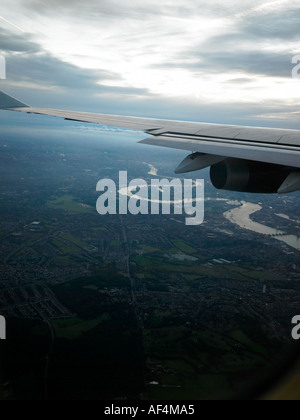 Urban Landscape from Aeroplane Window - Stock Photo