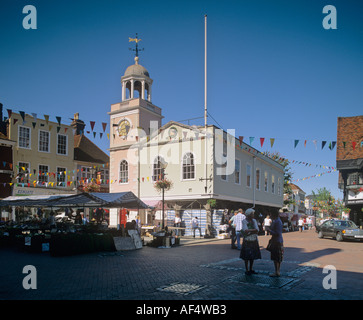 16th Century Guildhall rebuilt 1814 overlooks Faversham Market Place Kent - Stock Photo