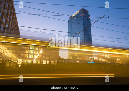berlin alexandersquare tram at twilight - Stock Photo