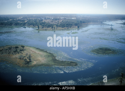 Aerial view of the Okavango Delta Botswana southern Africa The rising water with channels filling can be seen - Stock Photo