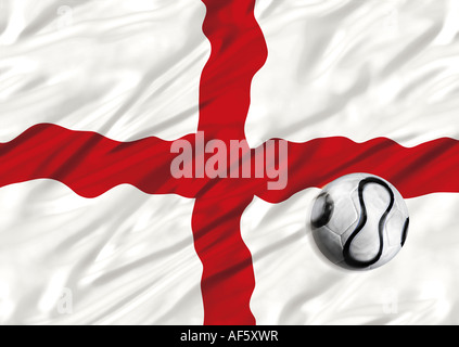 illustration of football and England flag - Stock Photo