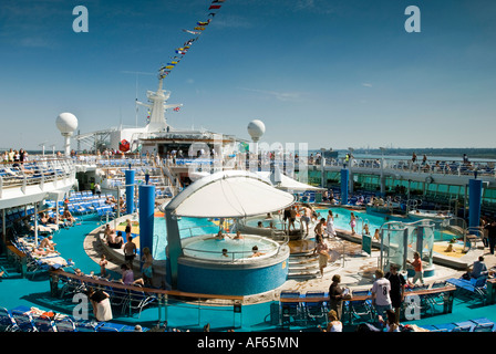 The massive  seawater swimming pool area on a cruise liner - Stock Photo