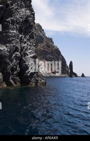 cliffs lipari Aeolian islands - Stock Photo