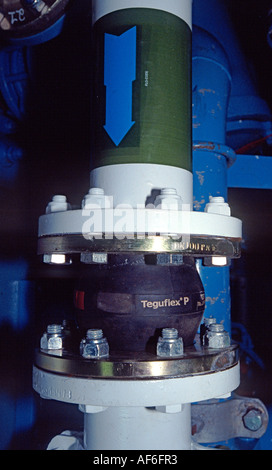 Expansion joint on an engine aboard a trawler - Stock Photo