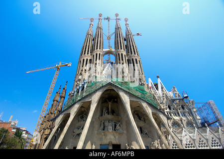 The unfinished Sagrada Familia Cathedral Barcelona designed by Gaudi - Stock Photo