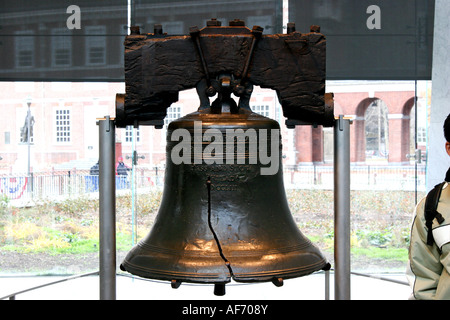A view from the Liberty Bell at Independence Hall Philadelphia United States where the declaration was signed - Stock Photo