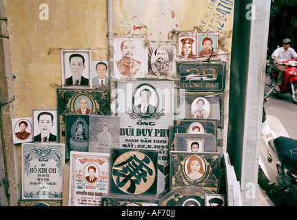 Funeral headstones mason in the Old City of Hanoi in Vietnam in Far East Southeast Asia. Culture Occupation Business - Stock Photo