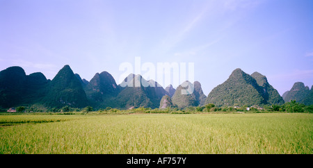 Landscapes World Travel. A landscape showing the mountains in Yangshuo Guilin in Guangxi in China in Asia. Adventure - Stock Photo