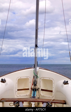 View from the front of a yacht and the open sea - Stock Photo