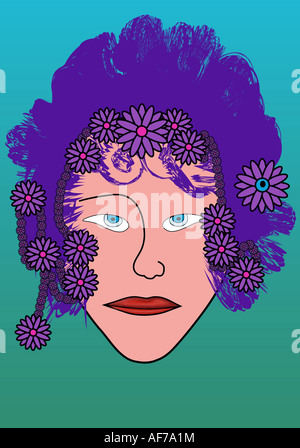 woman vector portrait - Stock Photo