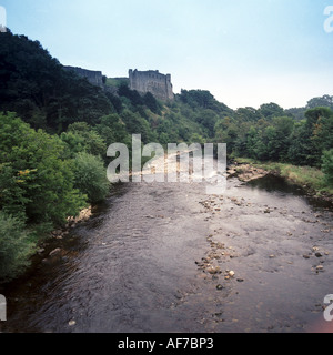 United Kingdom. England. North Yorkshire Dales. Richmond Castle. .and River Swale - Stock Photo